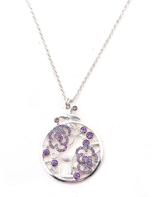 Fashion Silver Color+purple Hollow Out Design Pure Color Necklace