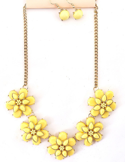 Fashion Yellow Flower Shape Decorated Jewelry Set