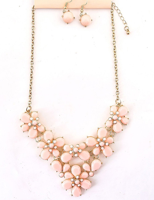 Fashion Pink Pure Color Decorated Jewelry Set