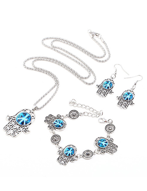 Fashion Blue Hand Shape Decorated Jewelry Set