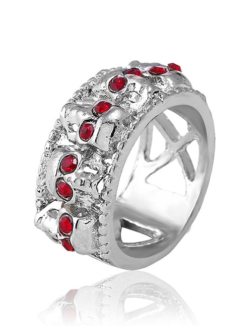 Fashion Silver Color+red Skull Shape Decorated Ring