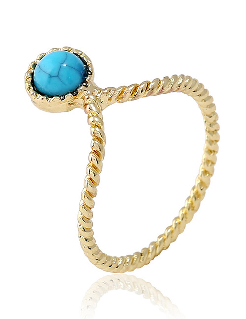 Vintage Gold Color+blue Round Shape Decorated Ring