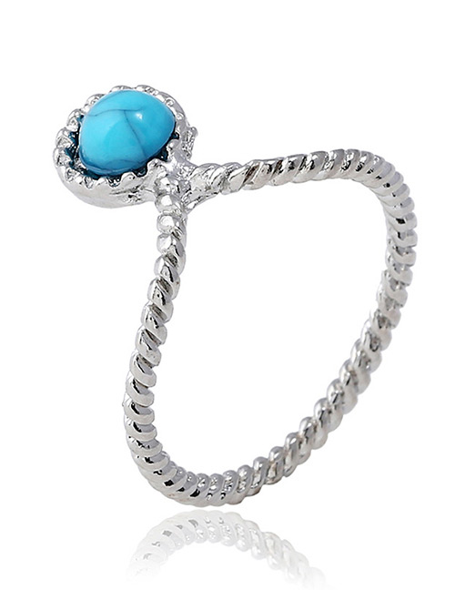 Vintage Silver Color+blue Round Shape Decorated Ring