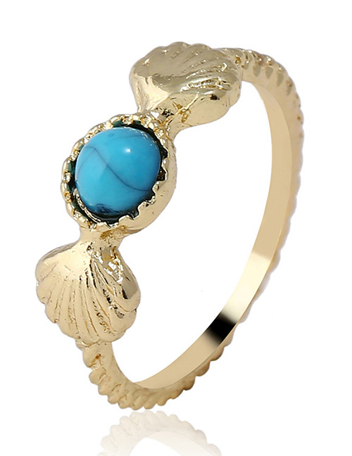 Fashion Gold Color+blue Shell Shape Decorated Ring