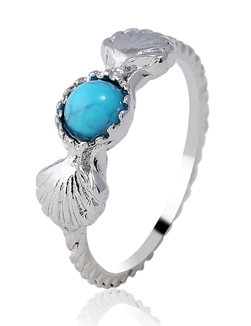 Fashion Silver Color+blue Shell Shape Decorated Ring