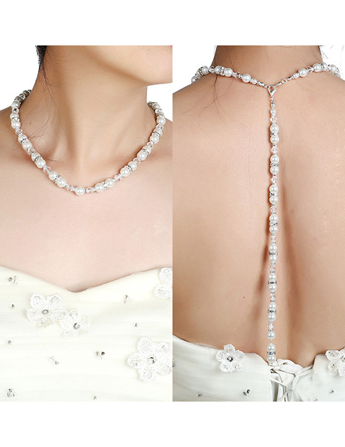 Fashion White Pearl Decorated Pure Color Necklace