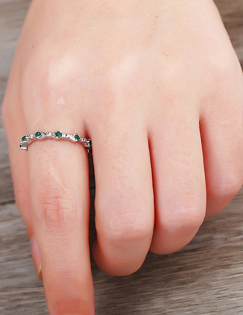 Fashion Silver Color+green Pure Color Decorated Ring