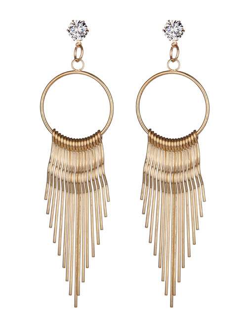 Fashion Gold Color Tassel Decorated Pure Color Earrings