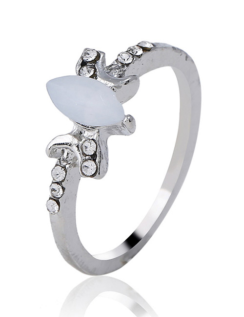Fashion Silver Color Oval Shape Decorated Ring