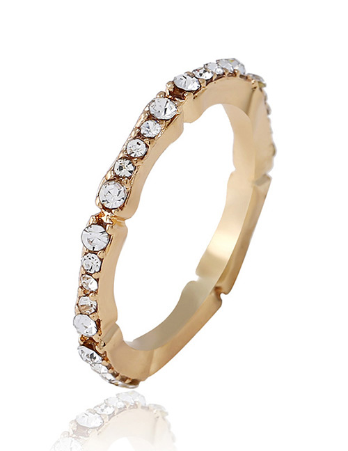 Simple Gold Color Round Shape Decorated Ring