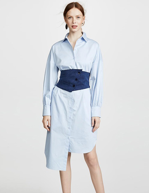 Fashion Blue Pure Color Design Asymmetric Shirt