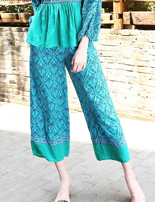 Fashion Blue Flowers Pattern Decorated Loose Pants