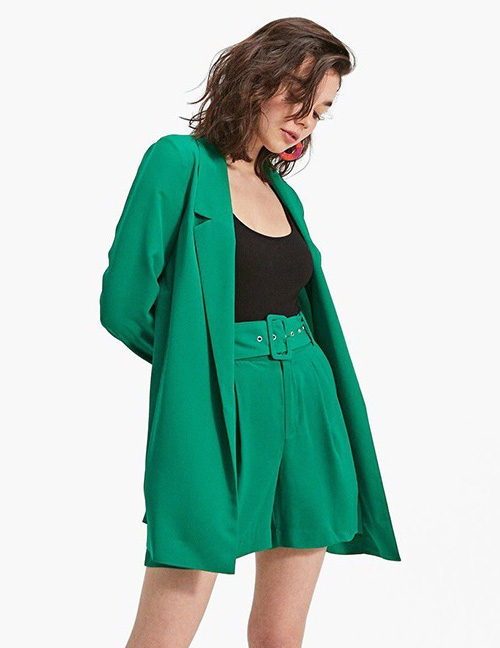 Fashion Green Long Sleeves Design Casual Coat