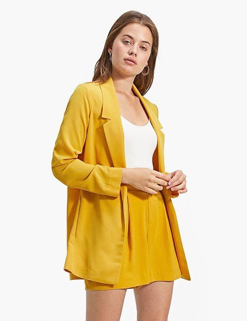 Fashion Yellow Long Sleeves Design Casual Coat