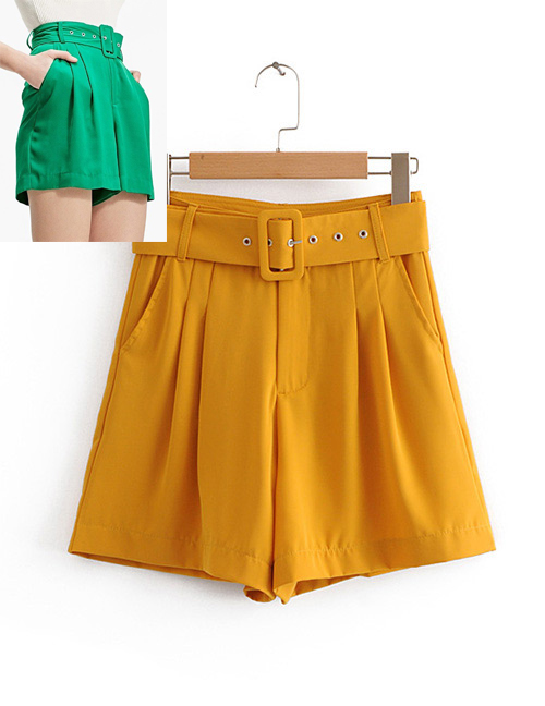 Fashion Yellow Pure Color Design Loose Shorts