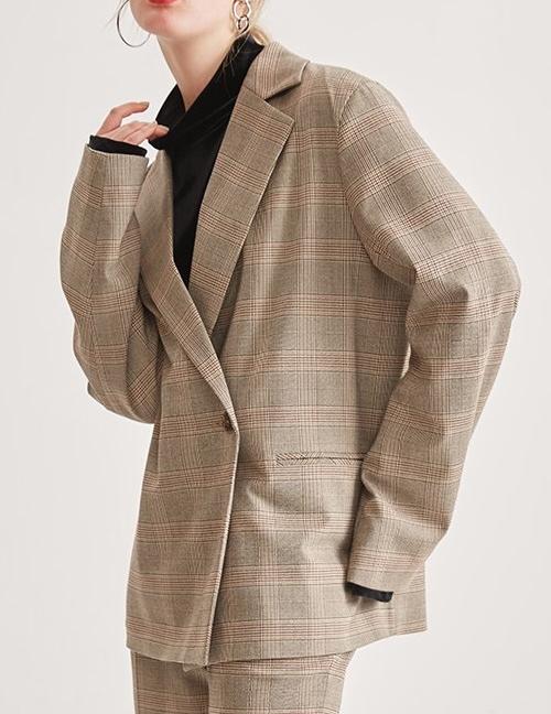 Fashion Brown Stripe Pattern Design Long Sleeves Coat