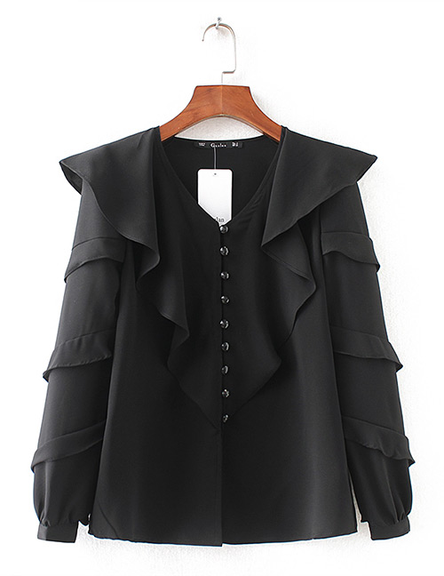 Fashion Black V Neckline Design Pure Color Shirt