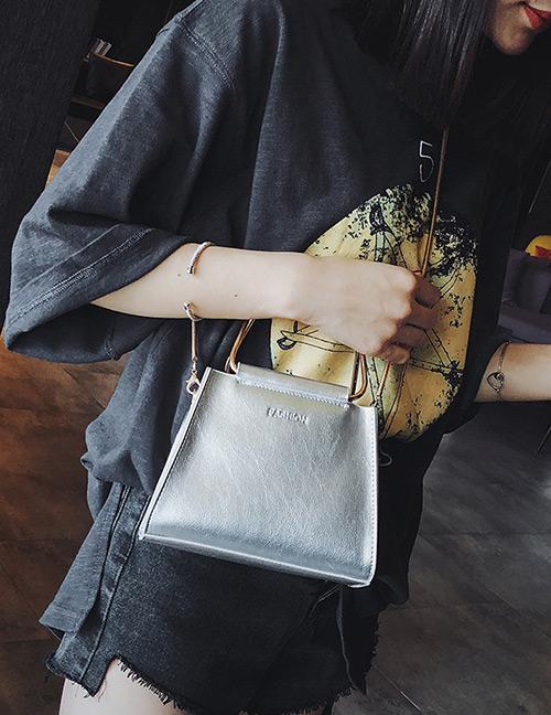 Fashion Silver Color Pure Color Decorated Simple Handbag