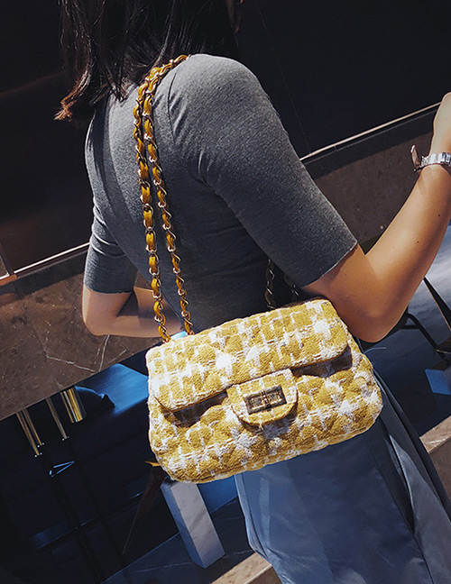 Fashion Yellow Grid Pattern Decorated Shoulder Bag