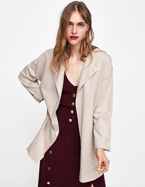 Fashion Beige Pure Color Decorated Coat