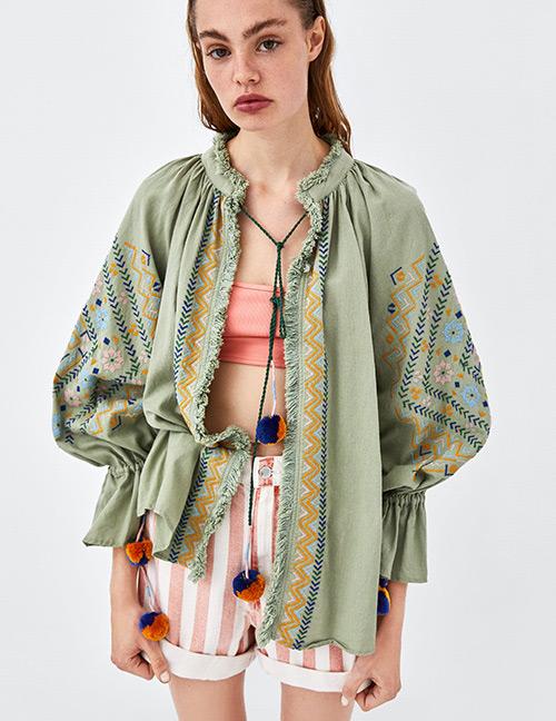 Fashion Green Round Neckline Design Flower Pattern Blouse