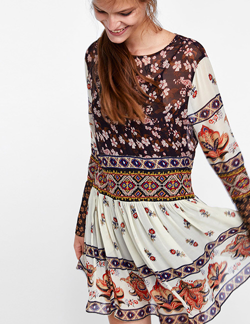 Fashion Multi-color Flower Pattern Decorated Long Sleeves Dress