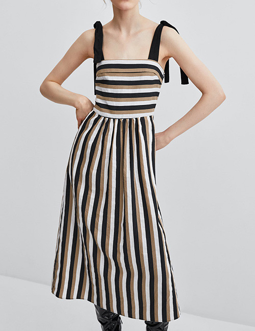 Fashion Black+white Stripe Pattern Decorated Dress