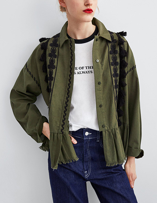 Fashion Green Flower Pattern Decorated Long Sleeves Shirt