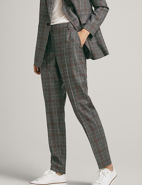 Fashion Gray Grids Pattern Decorated Long Pants