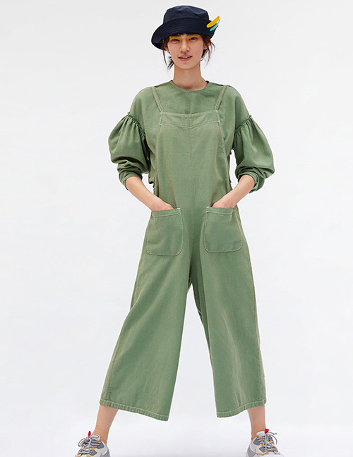 Fashion Green Pure Color Decorated Suspender Jumpsuit