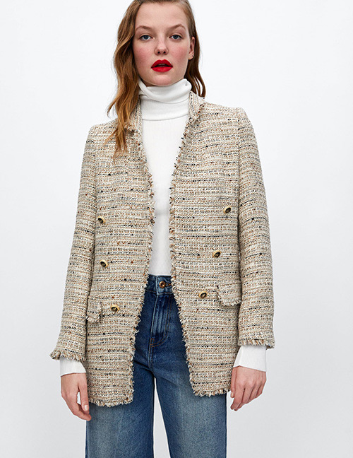 Fashion Beige Grids Pattern Decorated Coat