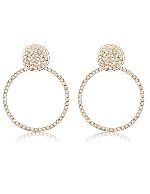Fashion Gold Color Full Diamond Decorated Round Earrings