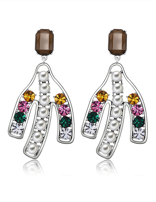 Fashion Multi-color Arrow Shape Decorated Earrings