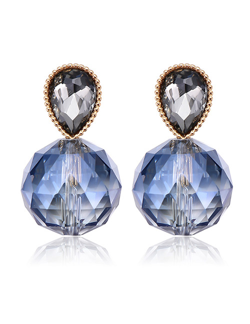 Fashion Light Blue Waterdrop Shape Decorated Earrings
