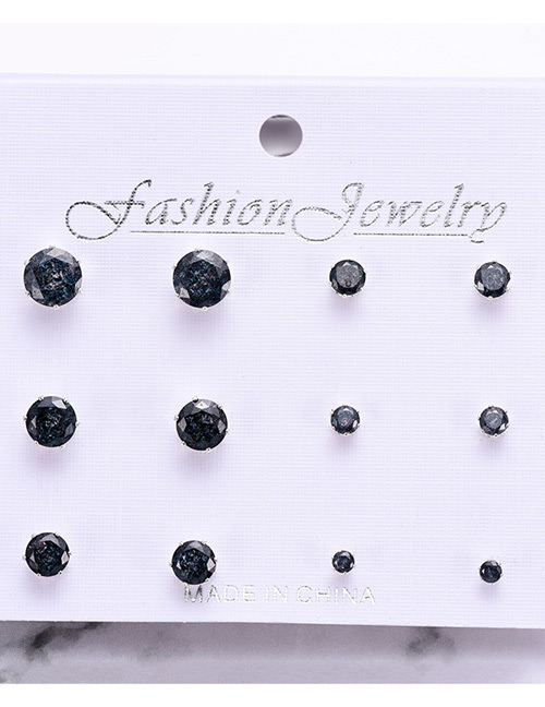 Fashion Black Round Shape Decorated Earrings