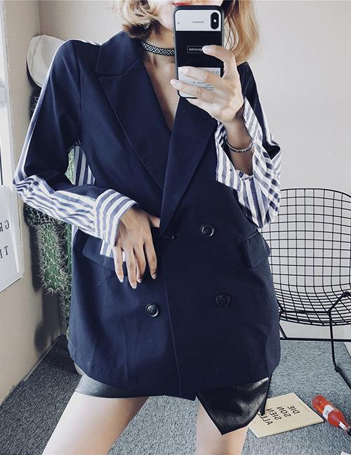 Fashion Blue Stripe Pattern Decorated Coat
