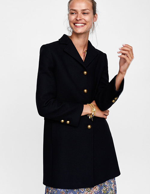Fashion Black Pure Color Decorated Coat