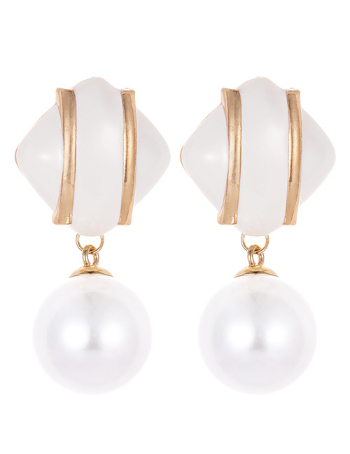 Fashion Beige Square Shape Decorated Earrings