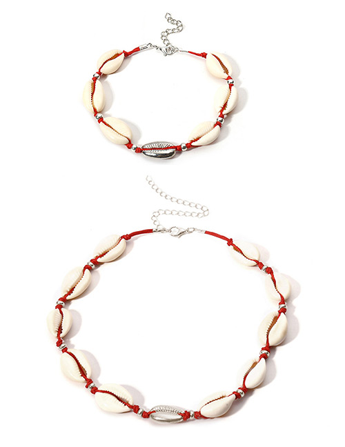 Vintage Red+white Shell Shape Decorated Necklace&anklet (2 Pcs )