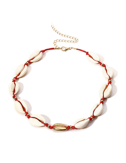 Vintage White+gold Color Shell Shape Decorated Necklace