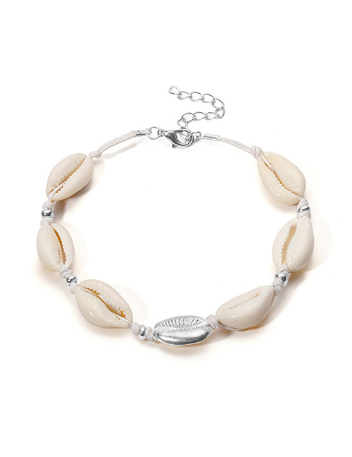 Vintage White+silver Color Shell Shape Decorated Anklet