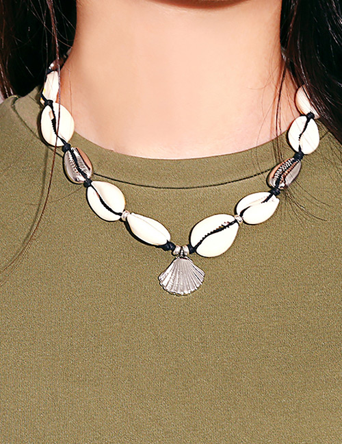 Simple Silver Color Shell Shape Decorated Necklace