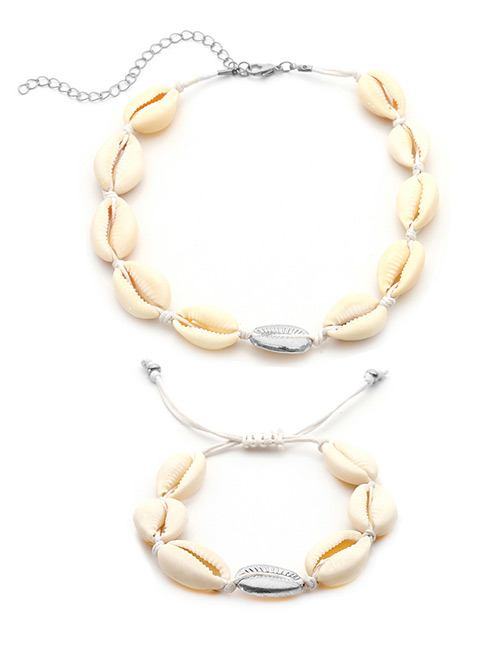 Fashion White+silver Color Shell Shape Decorated Jewelry Set
