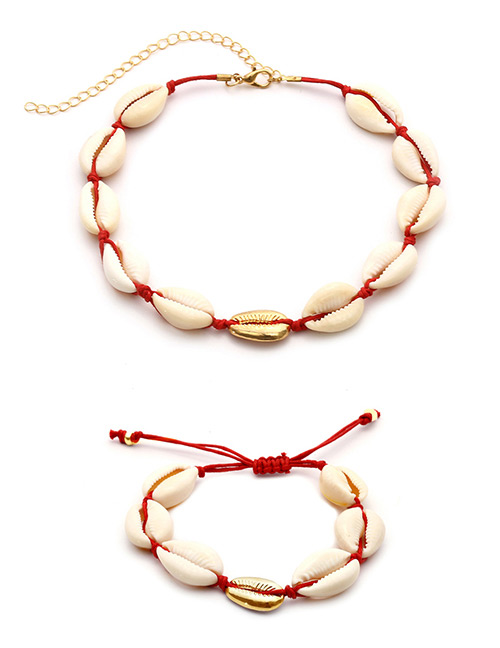 Fashion Red+white Shell Shape Decorated Jewelry Set
