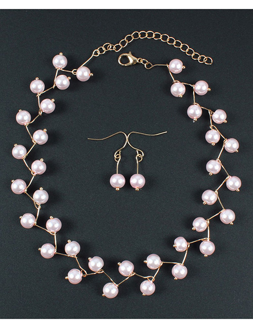 Simple Pink Bead Decorated Jewelry Set