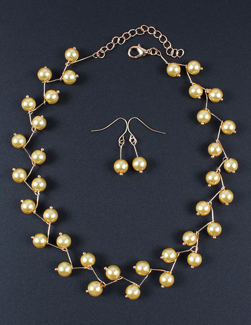 Simple Yellow Bead Decorated Jewelry Set