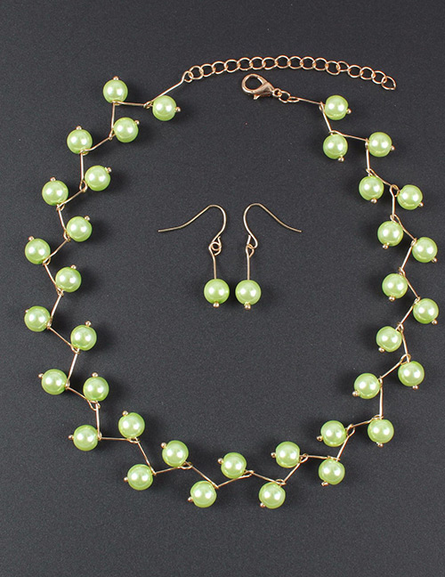 Simple Green Pure Color Decorated Jewelry Set