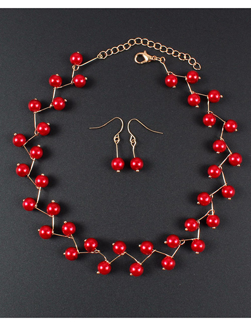 Simple Red Pure Color Decorated Jewelry Set