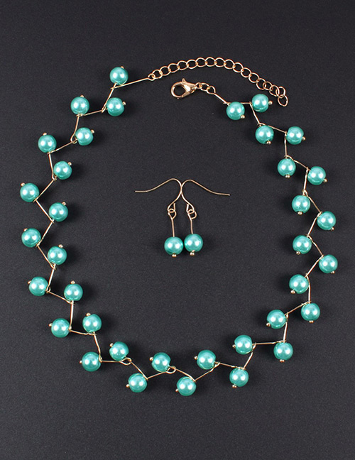 Simple Blue Bead Decorated Jewelry Set