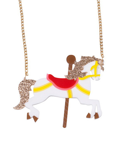 Fashion Multi-color Horse Shape Decorated Necklace
